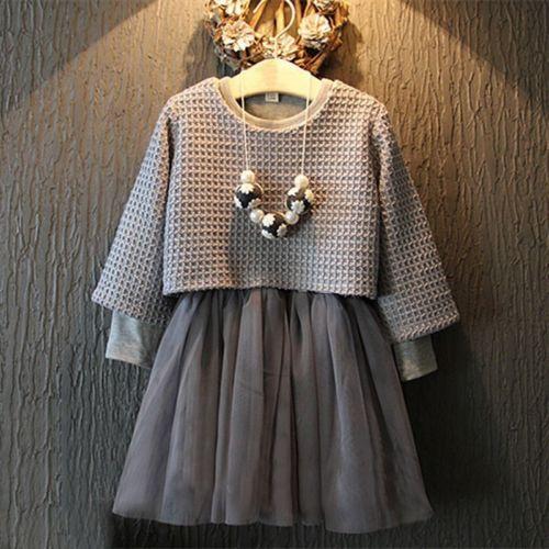 2016 Moda Bebê Meninas Crianças 2 Pcs Manga Comprida Cinza Camisola Top + Vestido Ternos Roupa Set 2-7 anos