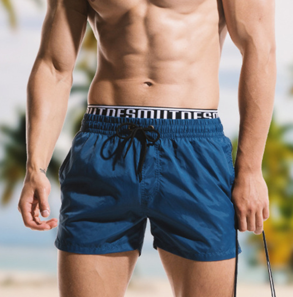 Waterproof Mens Board Shorts Double Waist Band Beach Swimming Shorts Men Surf Bermuda Boardshort Thin Soft Swim Trunks Swimwear