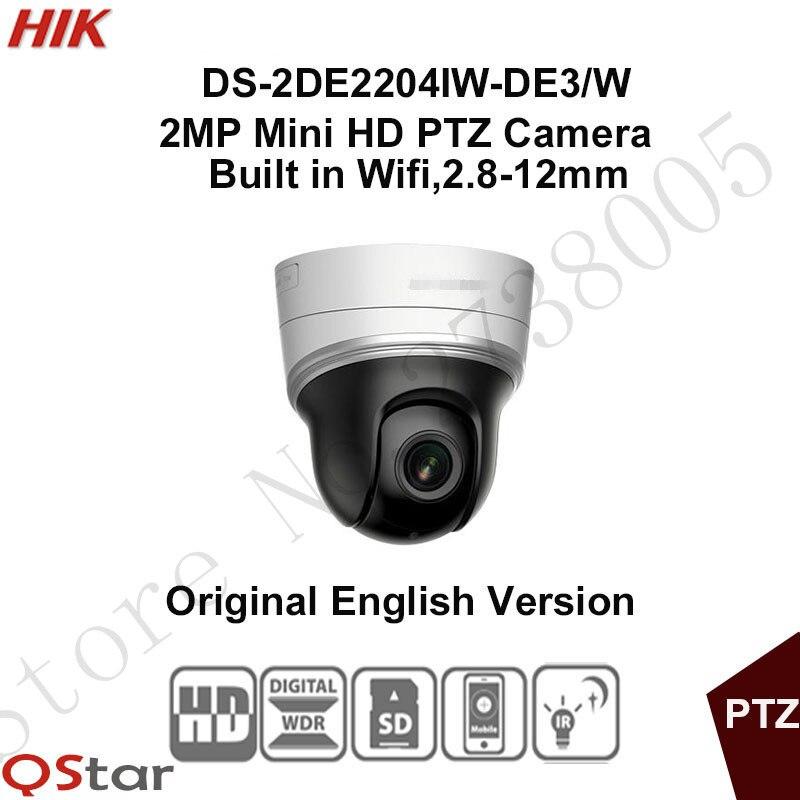 In stock Hikvision English wifi PTZ DS-2DE2204IW-DE3/W 2MP Mini IP PTZ Camera 2.8-12mm POE/Onvif/SD Card 128G 30m CCTV Camera hikvision english version ds 2de2202 de3 w 2mp wifi mini ptz cctv ip camera wireless support ezviz poe security camera