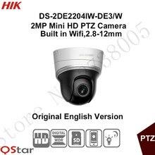 In stock Hikvision English wifi PTZ DS-2DE2204IW-DE3/W 2MP Mini IP PTZ Camera 2.8-12mm POE/Onvif/SD Card 128G 30m CCTV Camera