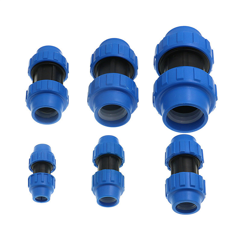 1pc HDPE Compression Coupler Plastic PP Thread Irrigation Pipe Quick Connector Micro Sprinkler Fittings Reducing Coupling PN16