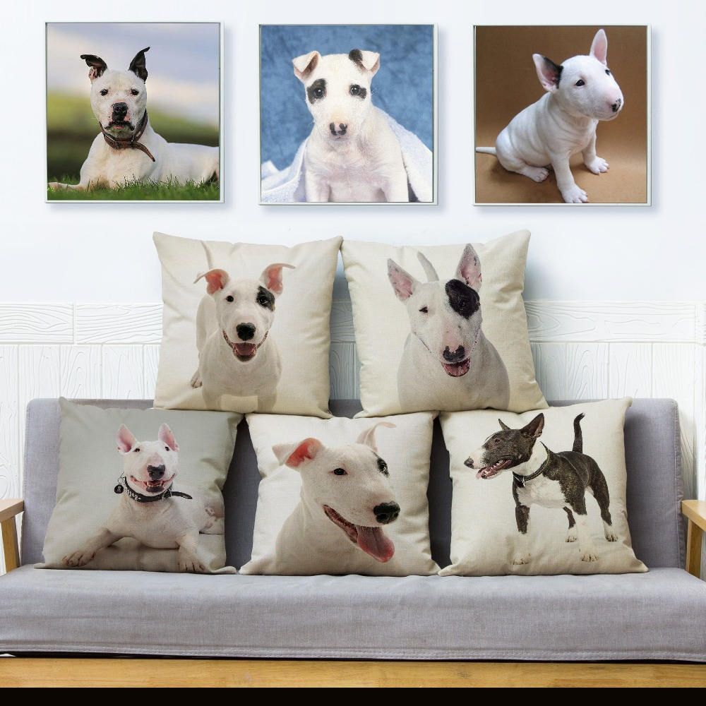 Cute Bull Terrier Pet Dog Throw Pillow Cover 45*45 Square Cushion Covers Linen Pillow Case Car Sofa Home Decor Pillows Cases