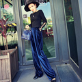 Street Fashion Women Long Loose Velvet Trousers Autumn Winter High Waist Wide Leg Female Trendy Long Pants 3colors