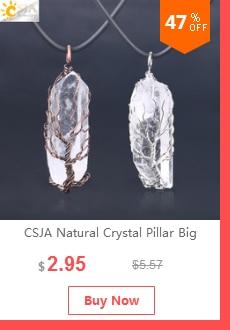 """CSJA натуральный каменный розовый кварц ожерелье и кулон серебряного цвета """"Древо жизни"""" проволочный обернутый форма капли воды для женщин ювелирные изделия F122"""