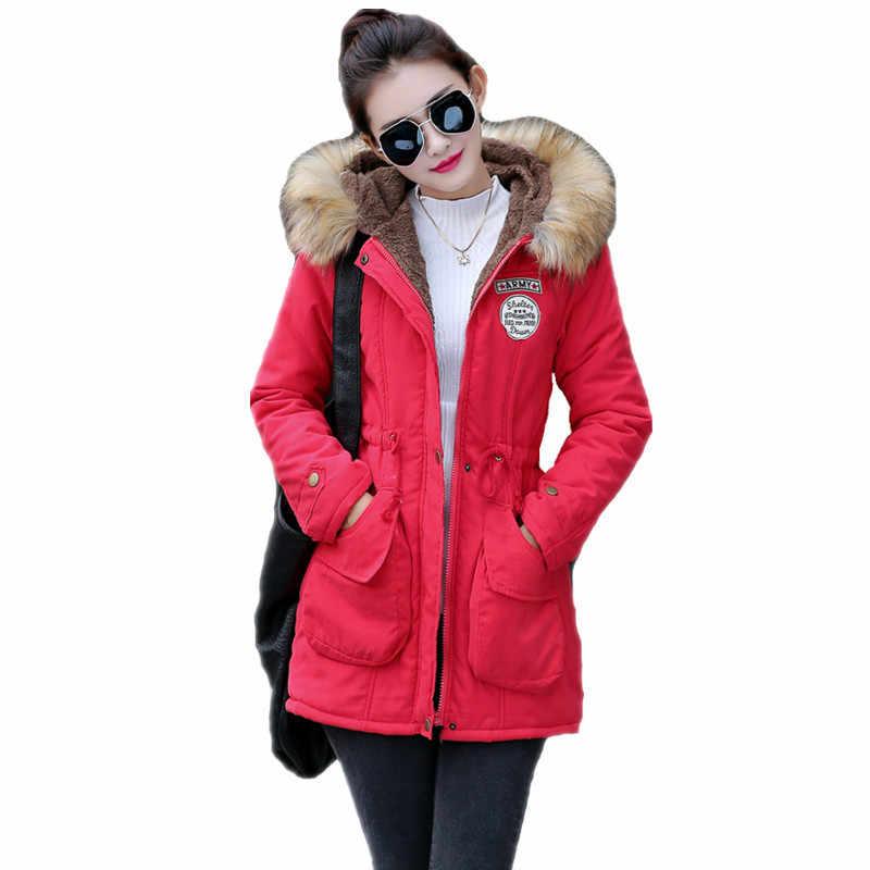 3116b3a01c2e Новые Длинные парки женские зимние куртки пальто из толстого хлопка теплая  ...