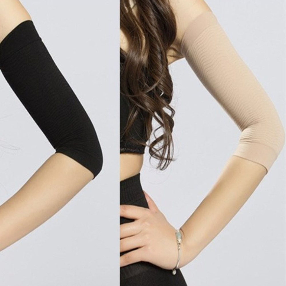 1 Pair 420D Compression Slimming Arms Sleeves Workout Toning Burn Cellulite Shaper Fat Burning Sleeves for Women image