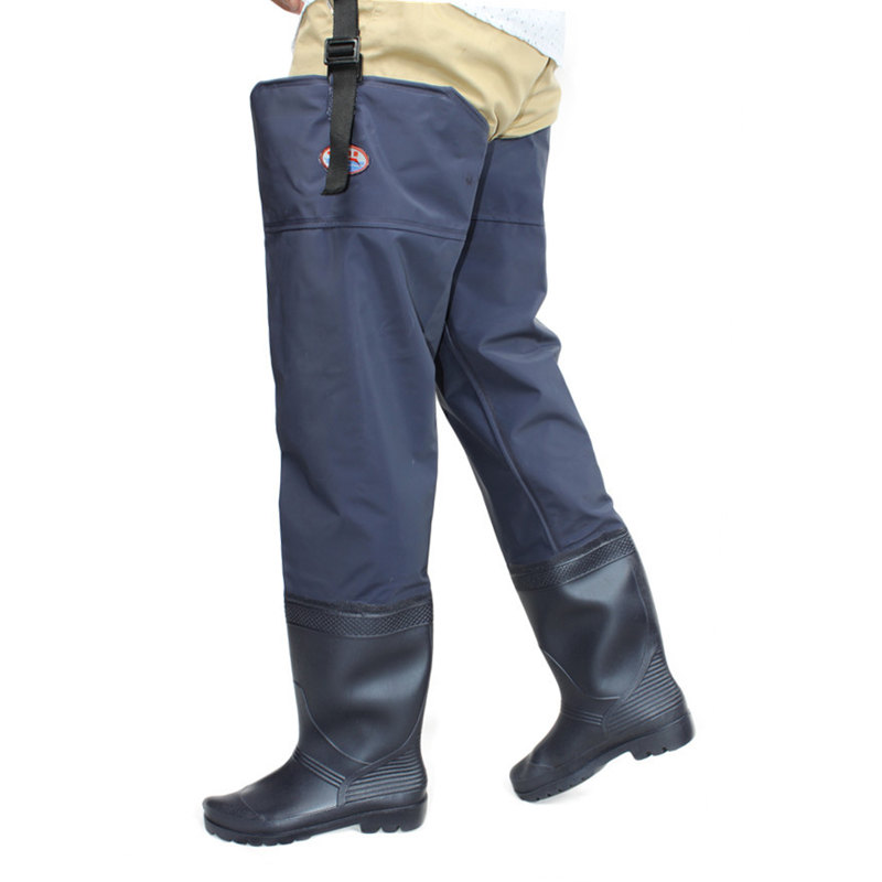 Unisex Plus 46# Fishing Waders Leg Pants Super Large Synthetic Leather Boots Thickening Sole One-Piece Fishing Waders Leg Pants boxed pleated button detail peg leg pants