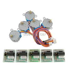 лучшая цена 2015 Sale New 5Pcs/Lot  5V Stepper Motor 28BYJ-48 With Drive Test Module Board ULN2003 5 Line 4 Phase Free shipping