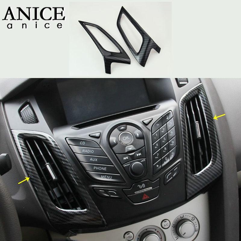 For Ford Focus MK3 2012 2014 Carbon fiber color ABS Interior dashboard air conditioner vent Trim 2PCS|Automotive Interior Stickers|Automobiles & Motorcycles - title=