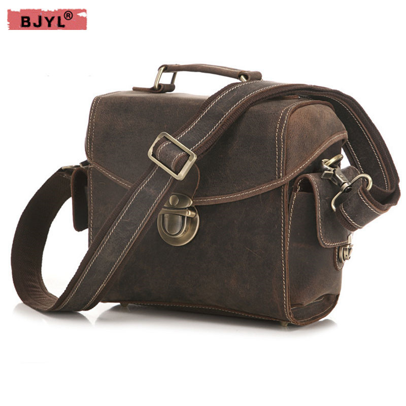 все цены на BJYL Men 's Retro crazy horse Leather SLR Camera Bag male Handbag Shoulder Bag Buckle crossbody messenger Bags онлайн