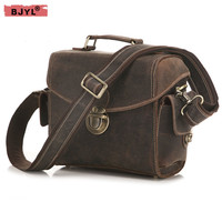 BJYL Men 's Retro crazy horse Leather SLR Camera Bag male Handbag Shoulder Bag Buckle crossbody messenger Bags