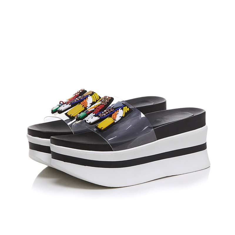 Lapolaka nouvelle mode taille 34-39 bout ouvert plate-forme chaussures d'été pantoufle femme offre spéciale livraison directe de haute qualité pantoufle femme chaussures - 6