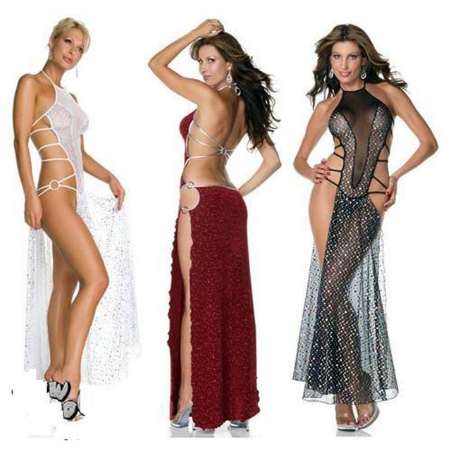 d6b8c5ae20ad Halter Backless Long Dress Sexy Lingerie 3 Colors Black White Red Women Extreme  Sexy Lingerie Underweare For Women QP-505