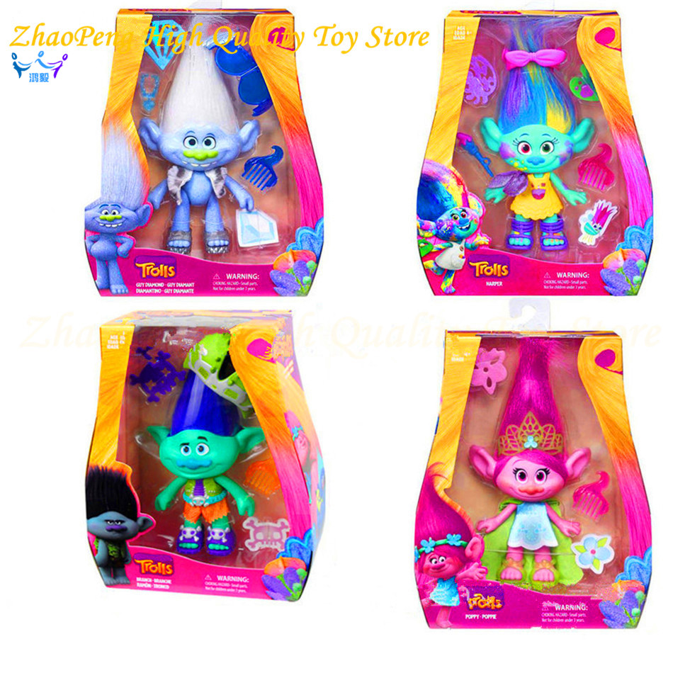 2017 New Dreamworks Movie Trolls Toys Action Figures Poppy Branch Troll PVC Kawaii Figures Toys for Children Kids Gifts FB148 new arrival purple men s canvas handbag with european design for male