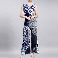 Changpleat высокой моды комбинезон miyak плиссированные тонкий v образным вырезом однобортный фасон elasticwaist женские широкие брюки Комбинезоны для