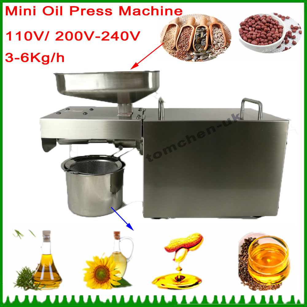 Stainless steel automatic small seed oil extraction machine, cold oil press, oil expeller, mini oil press machine for home oil press electric machine press seed for oil oil mill machine household press automatic home cold pressing heat press