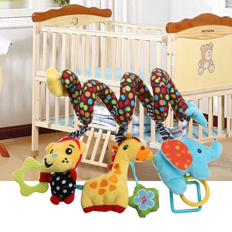 Cartoon Cute Monkey Elephant Plush Soft Dolls with Music Bell Baby IQ Development Bed Crib Hanging Plush Stuffed Toy Doll Toys newborn baby cute plush bed stroller cartoon elephant lion hanging toy infant rattle grasp educational toy toddler crib product