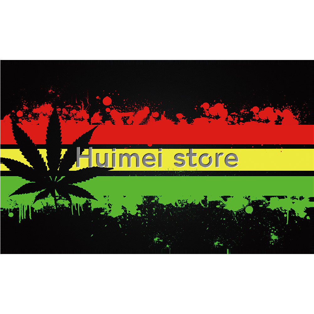 Reggae rasta leaf polyester wall sticker flower hanging flag for bar party music festival tattoo shop decoration in flags banners accessories from home