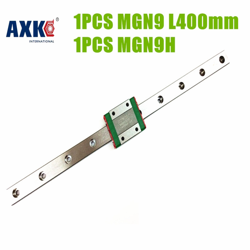 AXK hot selling cnc linear guide MGN9-400mm + linear block MGN9H carriage block linear for machine parts with fast shipment axk mr12 miniature linear guide mgn12 long 400mm with a mgn12h length block for cnc parts free shipping