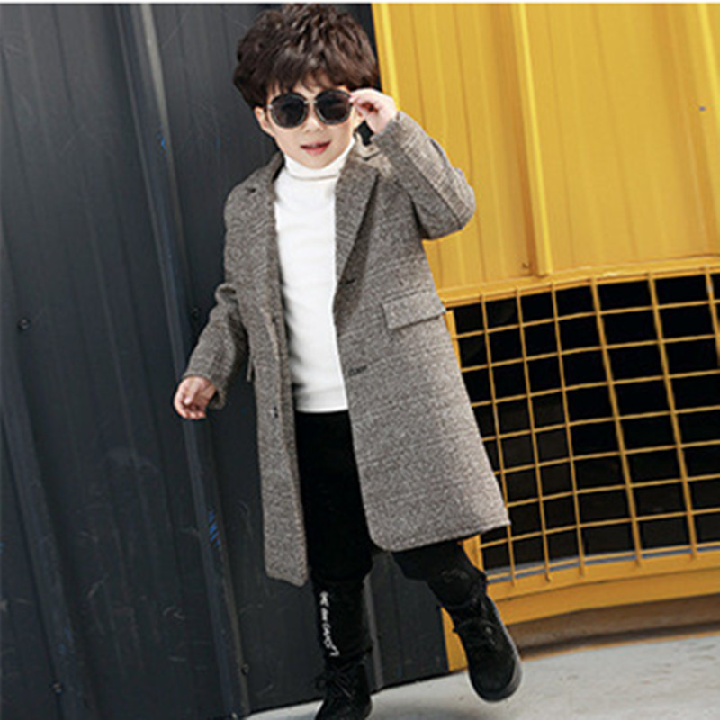 DFXD England Style Autumn Winter Little Boys Long Coffee Single-breasted Turn Down Collar Thick Wool Coat 2-7Years stylish shirt collar long sleeves single breasted jumpsuit for women