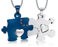 Necklace Titanium Steel Korean Jewelry Korean Students Necklace Blue Classic Puzzle Couple Type Necklaces Pendants