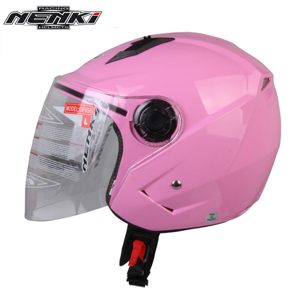 NENKI Men Women Motorcycle Open <font><b>Face</b></font> Riding <font><b>Helmet</b></font> Cruiser Chopper Touring Street Bike <font><b>Helmet</b></font> with Scooter Clear Lens Shield