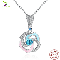 Special Gift 925 Sterling Silver Light Blue Pink Rose Flower Necklaces Pendants Engagement Fine Jewelry SCN039