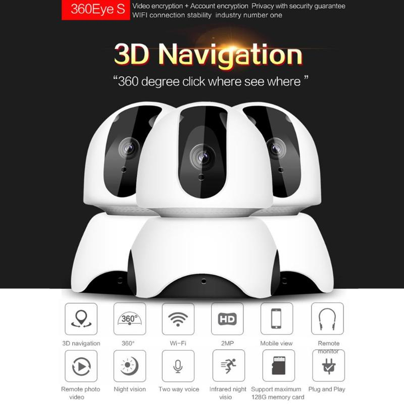360 Degree Wireless WiFi 1080P IP IR Panoramic Surveillance Camera USB Night Vision Baby Monitor Support 128GB Home Security