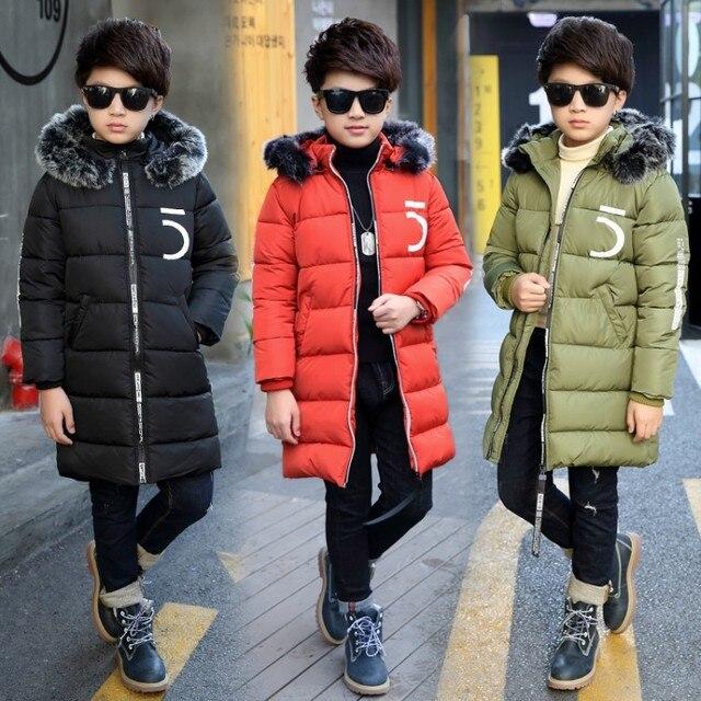 JMFFY Children Jackets Boys Winter Cotton Coat Baby 2018 New Kids Warm Outerwear Hooded Boy Coats Snowsuit Overcoat Clothes 6-15