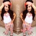 2016 moda verão Floral Bebê Meninas Sun Tops T-shirt Calças Calças Arco Hairband Outfits 3 Pcs Set frete grátis