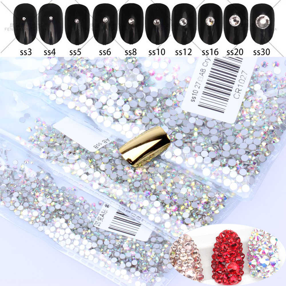 Super Glitter 1440pcs SS3-SS30 Flatback Multicolor Non HotFix Rhinestones For Nail Art Decoration Shoes And Dancing Decoration