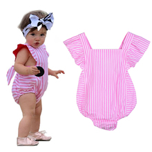 Newborn Baby Girl Rompers Cotton Sleeveless Striped Toddler Girl Kids Clothes Baby Summer Dress Infant One-piece Jumpsuit