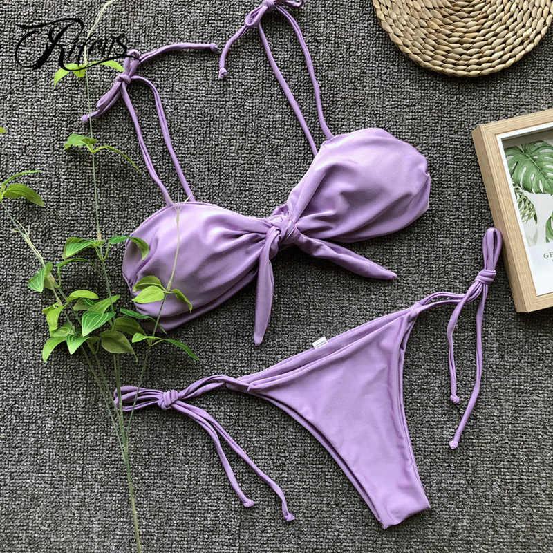 9faa79d13aed2 Подробнее Обратная связь Вопросы о Urifens бикини 2018 Mujer фиолетовый  пикантные пляжные купальники Для женщин Израиль модные на шнуровке комплект  бикини ...