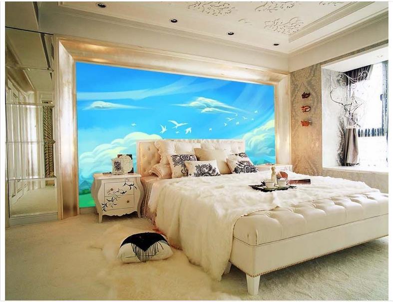 3d wallpaper custom 3d murals wallpaper wall paper White clouds blue sky bird grassland children room background wall wallpaper