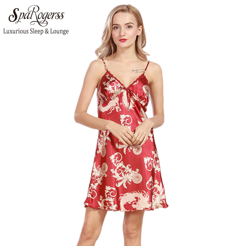 Silk Dressing Gowns Ladies: SpaRogerss Women Lace Sexy Nightgowns 2018 Ladies New Faux