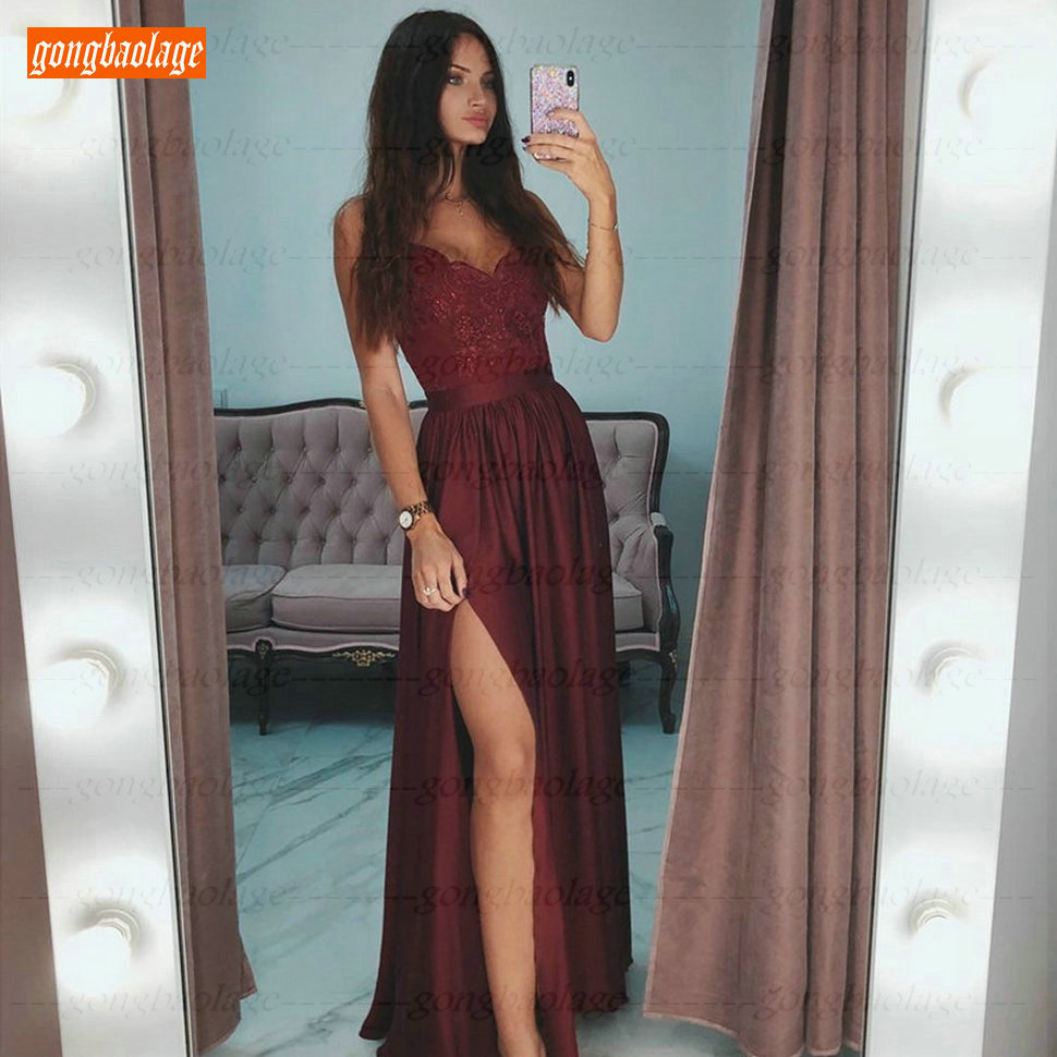 Sexy Burgundy V-Neck   Prom     Dresses   Long Slim Fit Lace Appliques Spaghetti Strap Side Slit A Line Evening Gowns Women Party   Dress
