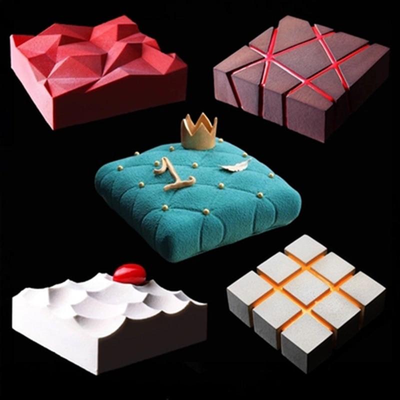 1pc diy irregularidade geometria grande molde de bolo de silicone 3d pan moldes de silicone quadrado para bolo moldes de cozimento ferramentas de decoração