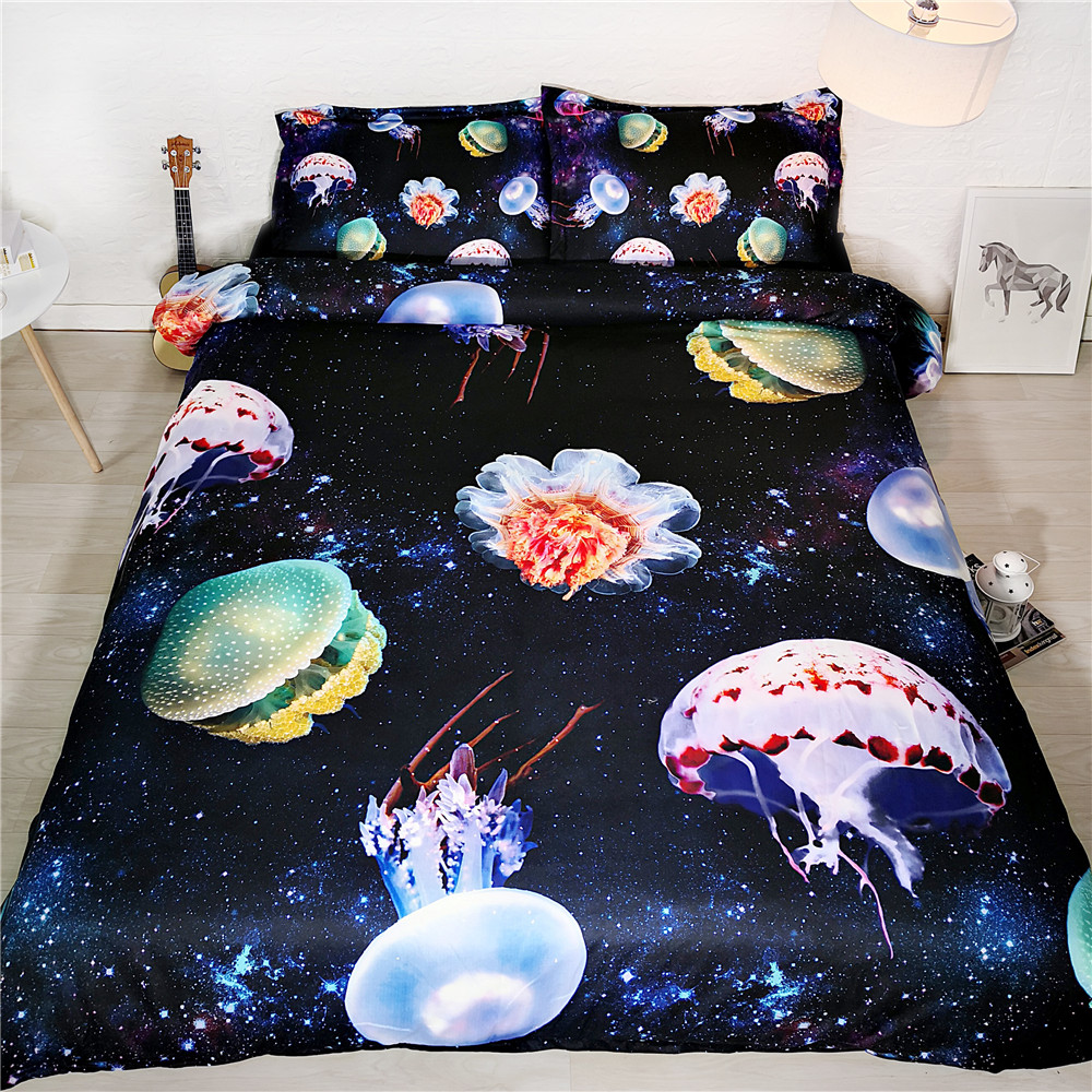3D Galaxy Jellyfish Bedclothes Bed and Bedding Set Flower Microfiber Bedding Comforter Duvet Cover Set non fadin for Adults Bed