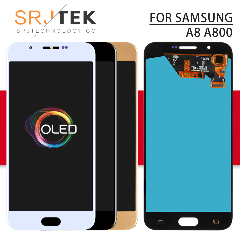 OLED Srjtek For Samsung Galaxy <font><b>A8</b></font> A800 <font><b>Display</b></font> Touch Screen Digitizer Panel Assembly Replacement Frame For A800F LCD A8000 image