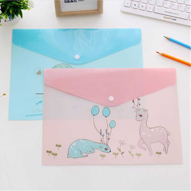 A4 PVC file bag cartoon animal cute adorable office desk set translucent student examination paper bag stationery folder