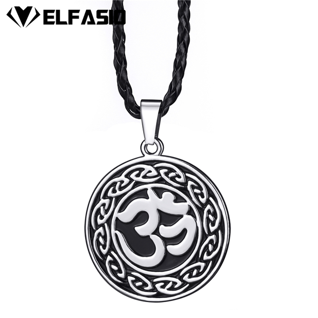 Mens Boys Celtic Aum Om Hindu Symbol Religious Pewter Pendant With