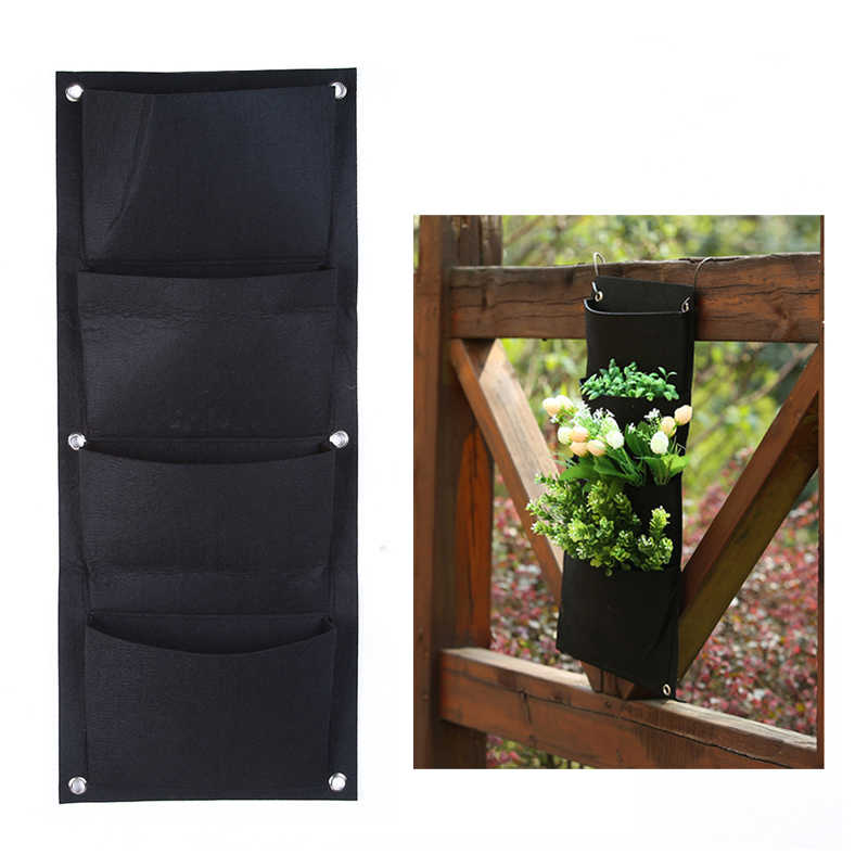 Outdoor Indoor Vertical Gardening Hanging Wall Garden 4 Pockets Planting Bags Seedling Wall Planter Growing Bags Yl877003