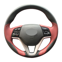 Hand stitched Black Wine Red Leather Anti slip Car Steering Wheel Cover for Hyundai Tucson 3 2015 2016 2017 2018 2019