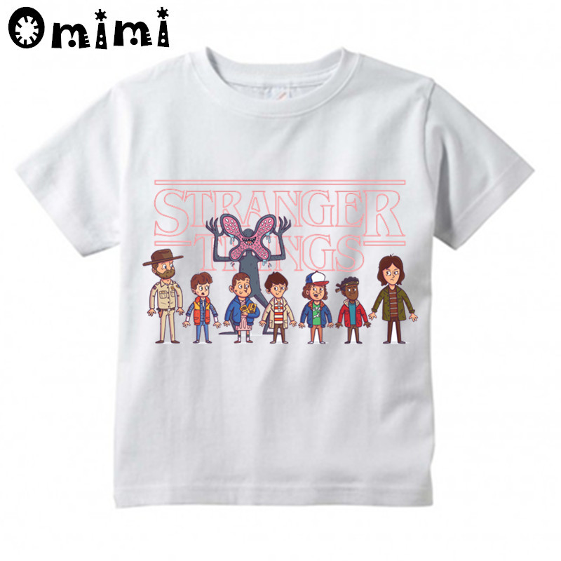 Boys/Girls Stranger Things Upside Down Demogorgon Printed T Shirt Kids Short Sleeve Tops Children's White T-Shirt