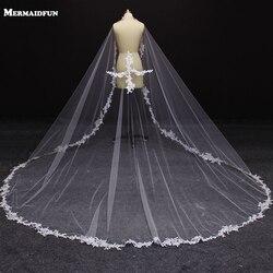 Reale Abbildungen Schöne Eine Schicht 3 Meter Spitze Appliques Weiß Elfenbein Brautschleier MIT Kamm Braut-accessoires