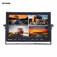 DIYSECUR 10 Inch Split Quad Display Color Rear View Monitor Car Monitor for Car Truck Bus Reversing Camera
