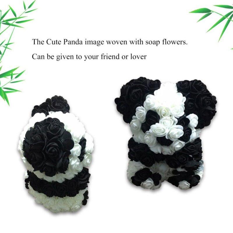 Flower Home-Decoration Valentines Rose Gift Artificial-Rose-Panda Handmade Wedding-Bithday