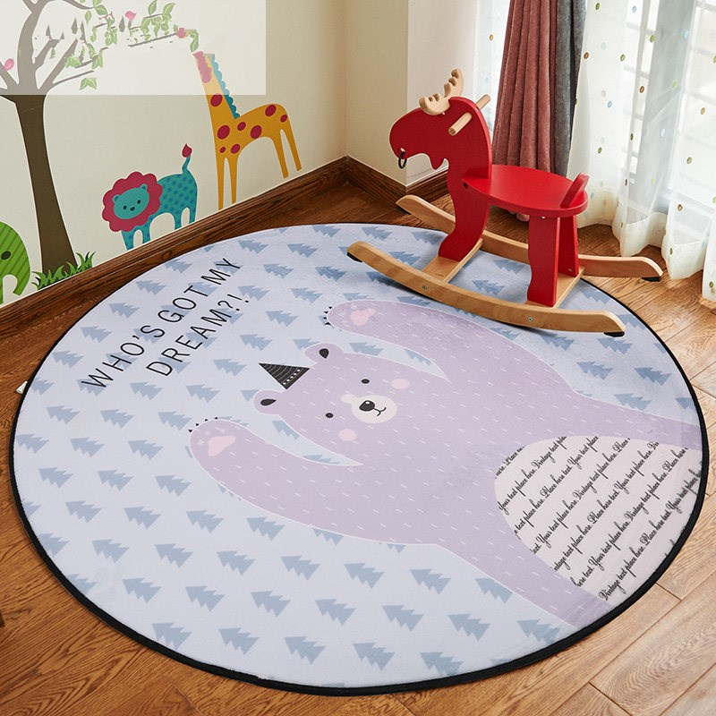 buy cartoon animal round area rug for. Black Bedroom Furniture Sets. Home Design Ideas