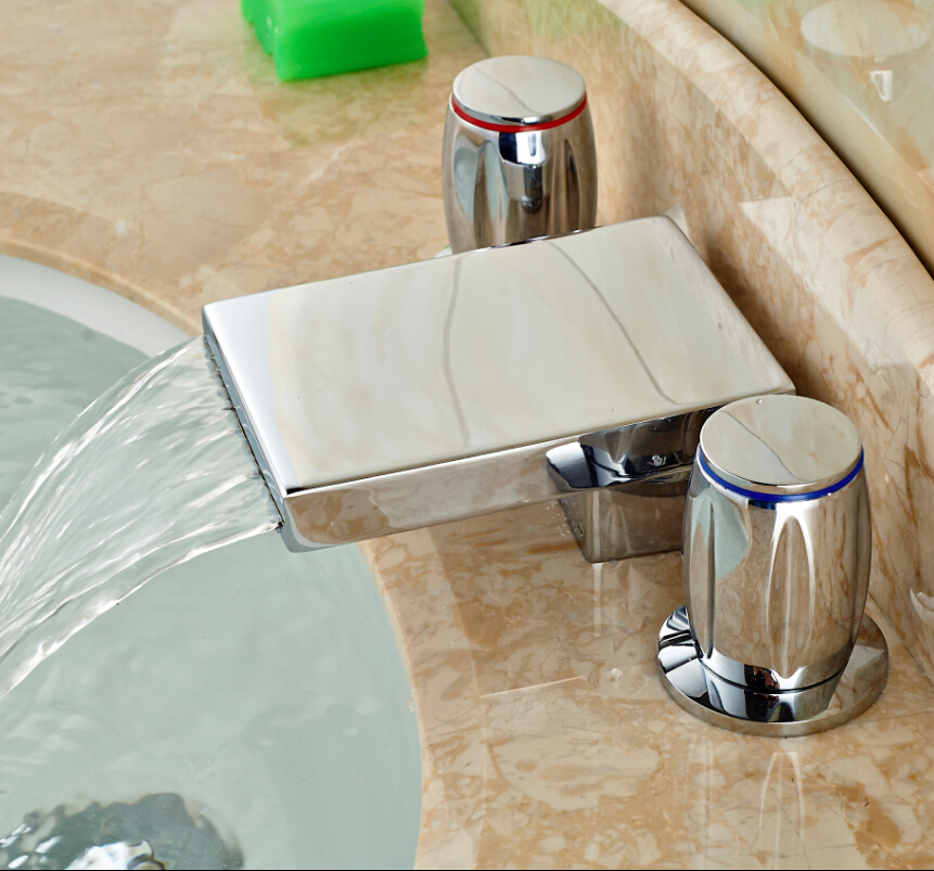 ФОТО Chrome Square Waterfall Bathroom Faucet Double Handle Basin Sink Mixer Tap Widespread