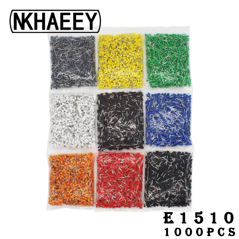 1000pcs Pack E1510 Insulated Cord End Terminal Crimp Terminal Wire Connector Crimp Ferrules Crimping Terminals Tubular in Terminals from Home Improvement